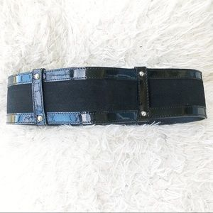 Anne Fontaine Black Patent Leather Suede Belt!